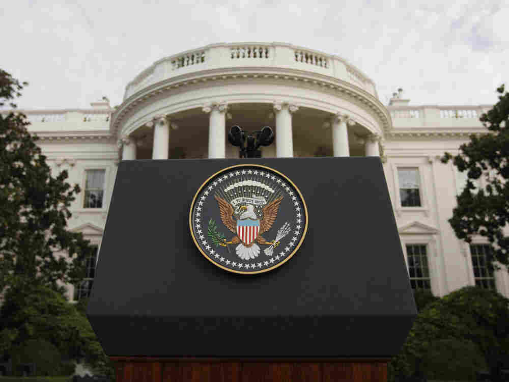 The Presidential podium on the White  House lawn. The Obama administration says it will no longer defend the Defense  of Marriage Act. The law bars the federal government from recognizing same-sex  marriage.