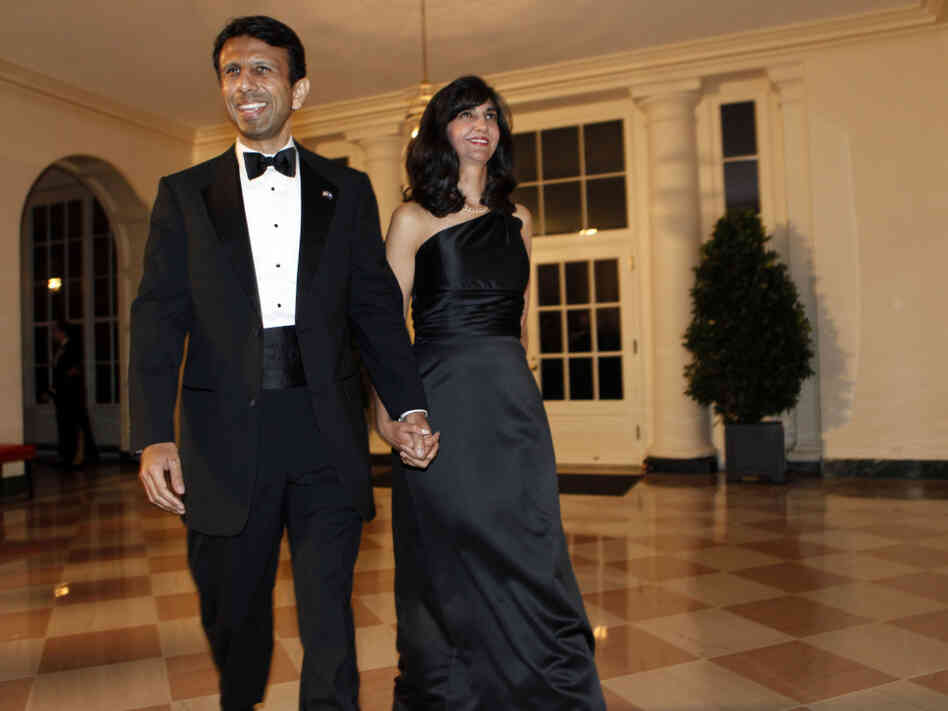 Louisiana Gov. Bobby Jindal and his wife Supriya Jindal at the White House, Nov. 24, 2009.