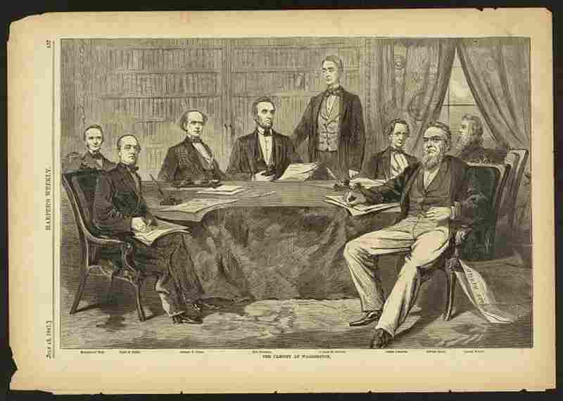 This illustration shows President Lincoln seated at a table with his cabinet officers just months after his inauguration, in July 1861.