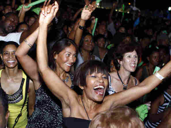 The audience cheers and dances at a Machel Montano concert in Port of Spain, Trinidad, in February.
