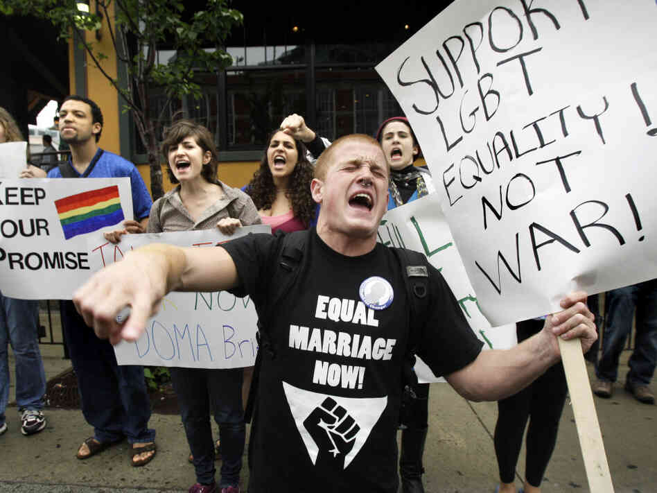 A protest against the Defense of Marriage Act outside a Democratic National Committee fundraiser in Boston at which Vice President Biden spoke, June 2009.