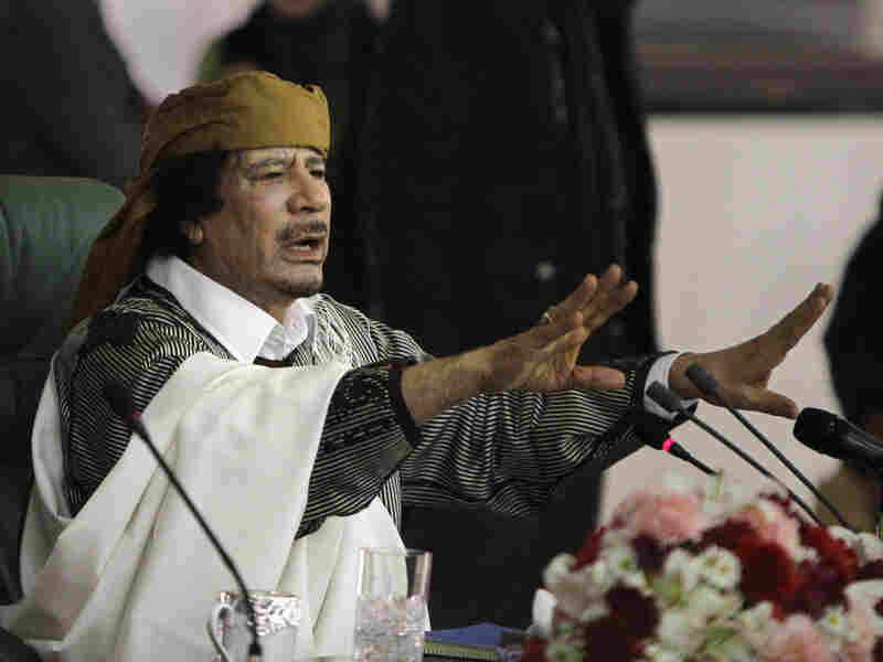 Libyan leader Moammar Gadhafi speaks to supporters in Tripoli on Wednesday.