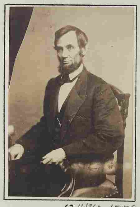 This photograph of President Abraham Lincoln was taken in 1861 at Matthew Brady's studio in Washington D.C.