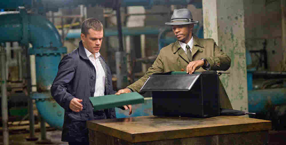 Anthony Mackie (right) plays a supernatural — yet still very human — agent of fate in the new romantic thriller The Adjustment Bureau. Matt Damon (left) stars in the film, adapted from the Philip K. Dick short story The Adjustment Team.