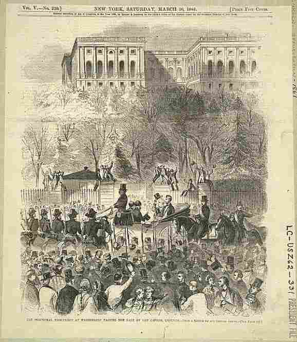 This print shows President-elect Lincoln and President Buchanan (tipping his top hat) amidst a cheering crowd at the base of the Capitol grounds on their way to Lincoln's inauguration.