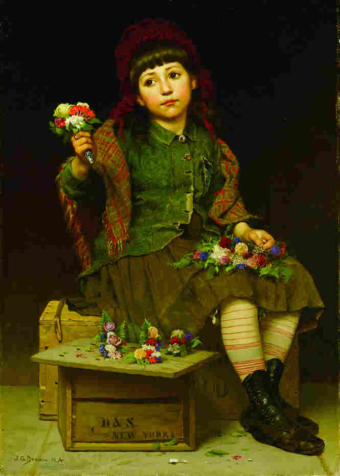 A child with imploring eyes looks out of John George Brown's 1886 work, Buy a Posy. Oil on canvas.