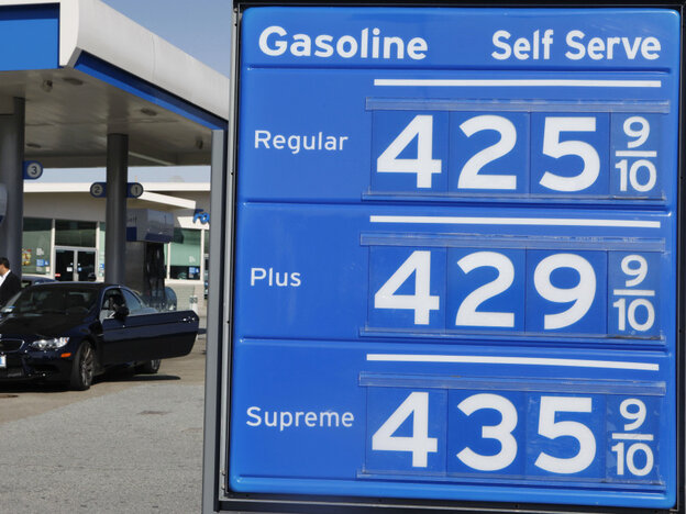 Sign of the times? Prices at a gas station in San Francisco on Friday.