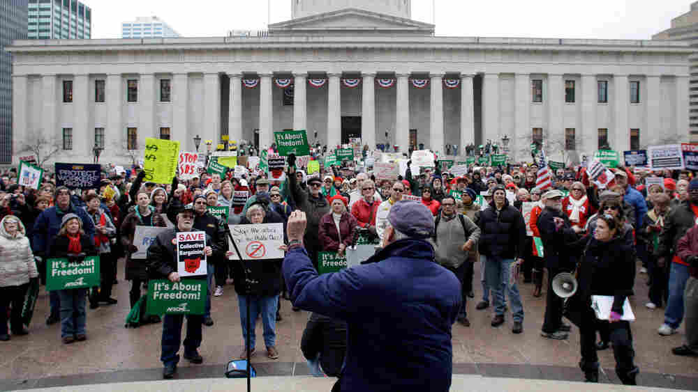 Protesters opposed to state Senate Bill 5, which would restrict the bargaining rights of public workers in Ohio, gather at the statehouse in Columbus last month.