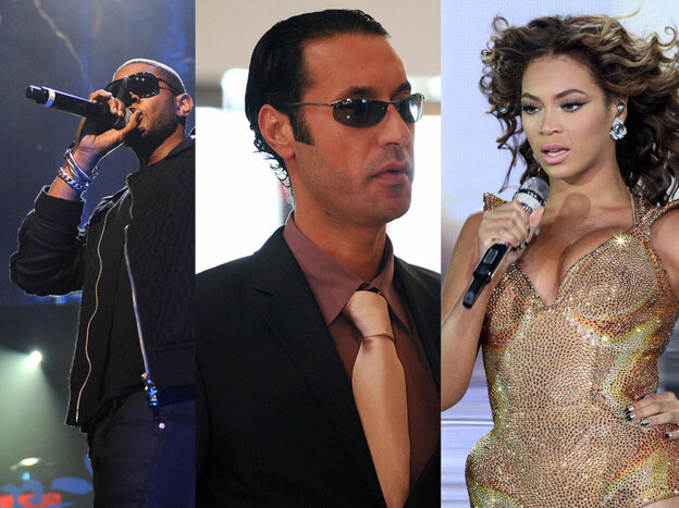 Usher (left) and Beyonce (right) performed at private concerts funded by the family of Libyan President Moammar Gadhafi. Gadhafi's son Hannibal is at center.