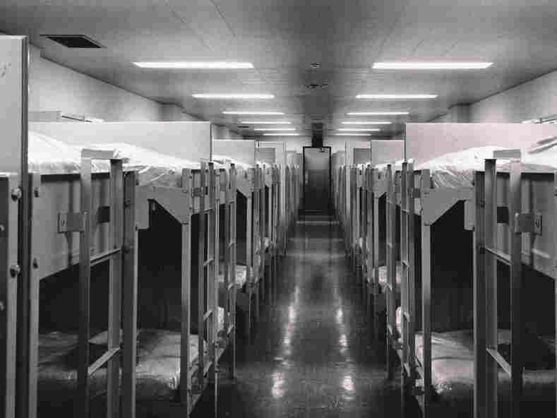 Beds line the dormitory for members of Congress.