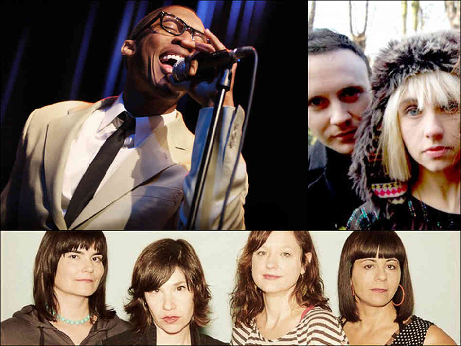 Raphael Saadiq (upper left), The Joy Formidable (upper right), WILD FLAG (bottom)