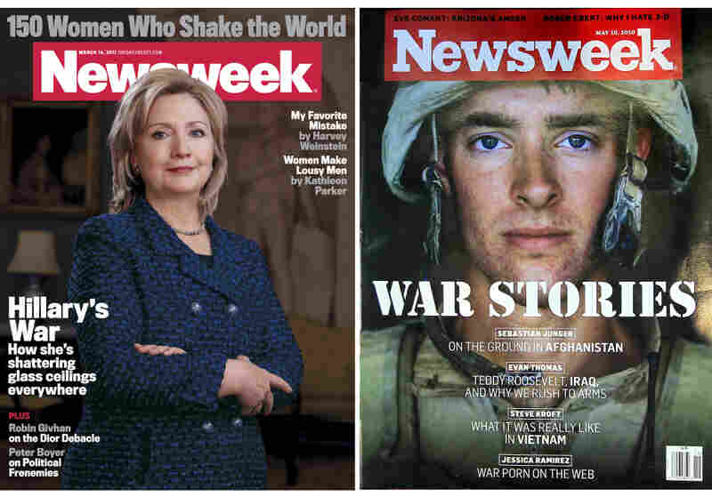 The redesigned cover of Newsweek features Secretary of State Hilary Clinton, left. At right, the magazine's cover last May, when it was put up for sale.