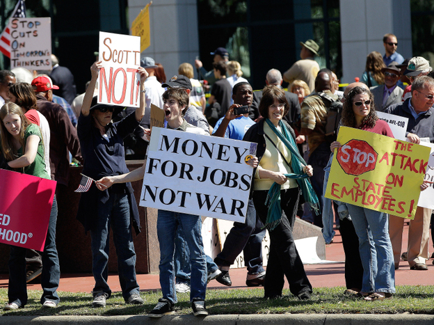 Protesters headed to Florida's state capital to oppose expected cuts to education, social services and public employees' pensions.