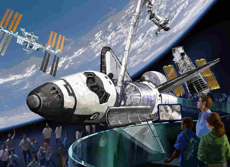 This concept illustration for the Kennedy Space Center Visitor Complex shows how a space shuttle might be displayed, if NASA decides to award one to the facility.