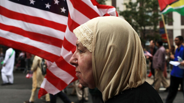 People march in the American Muslim Day Parade last September in New York.