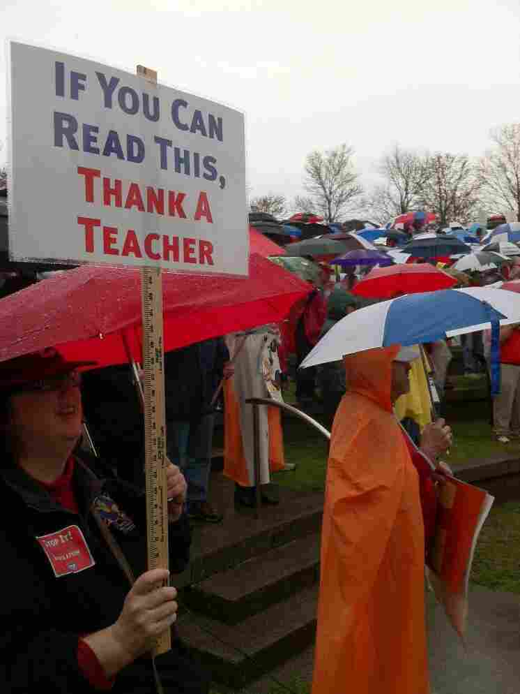 Teachers and union supporters gather Saturday around the Tennessee state Capitol to protest a bill that would strip educators of their collective bargaining power.