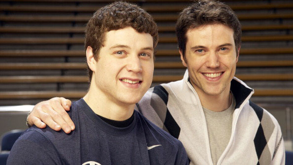 Brigham Young University guard Jimmer  Fredette, left, and older brother TJ Fredette. The two are having a breakout year.