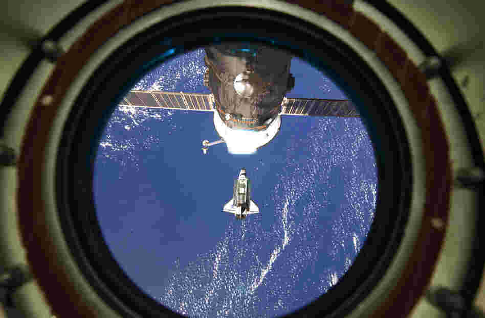 Discovery approaches the International Space Station on Feb. 26.