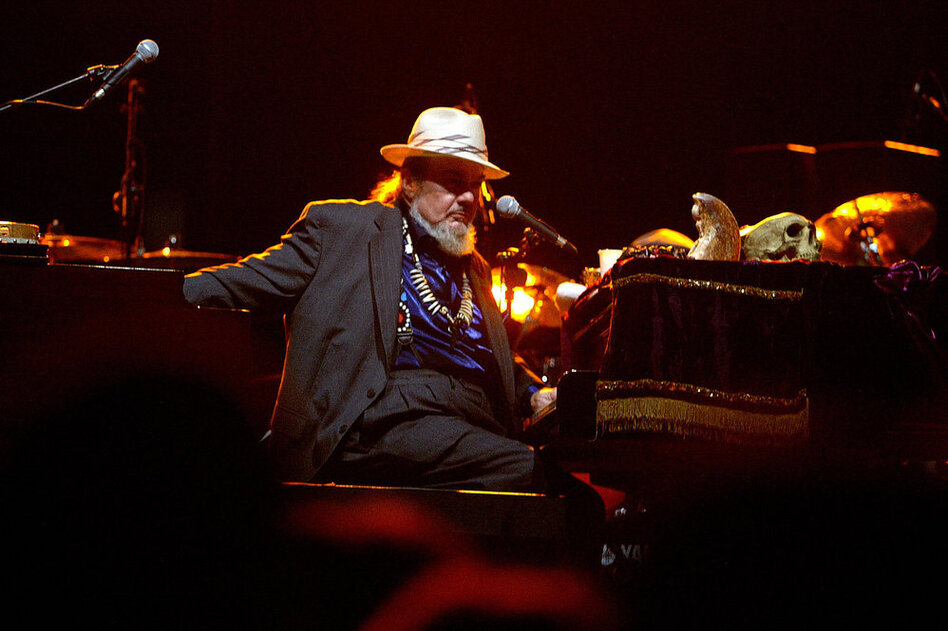 After Hurricane Katrina, Dr. John stepped up his relief effort by hosting fundraising concerts and recording benefit albums. His album City That Care Forgot earned him his fifth Grammy. Here, he performs during a concert in 2004.  (Getty Images)
