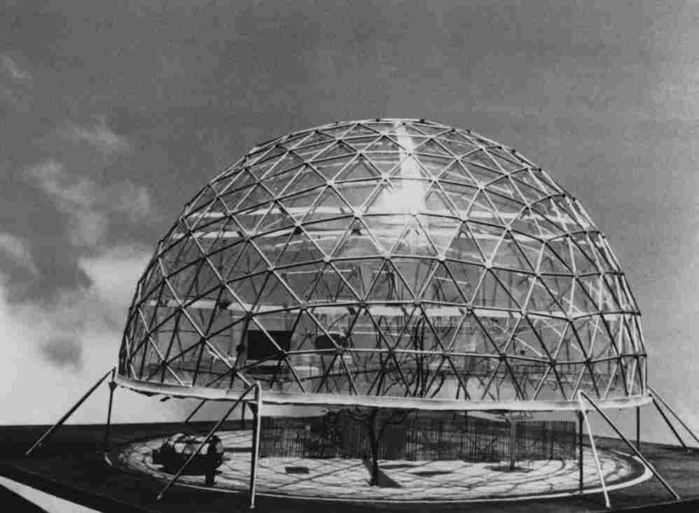 A model of the Geodesic Dome House, designed by American inventor Buckminster Fuller.