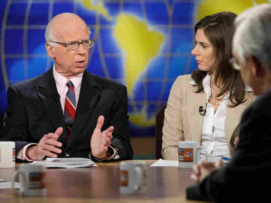 "Washington Post columnist David Broder (L) on ""Meet the Press""."