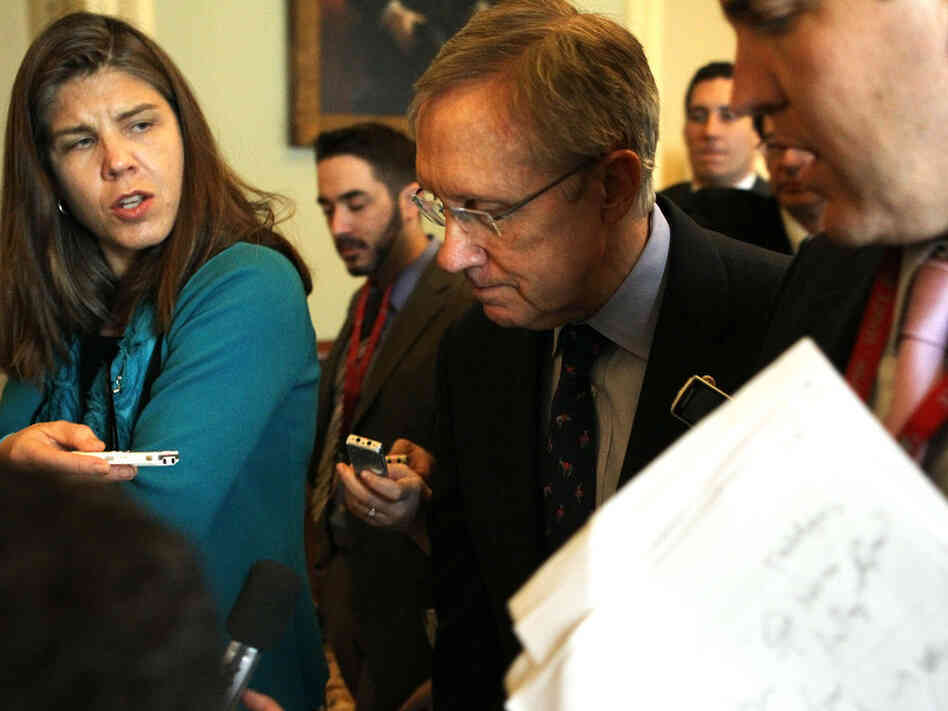 Senate Majority Leader Sen. Harry Reid (D-NV) speaks to  news media after spending bill votes, March 9, 2011.
