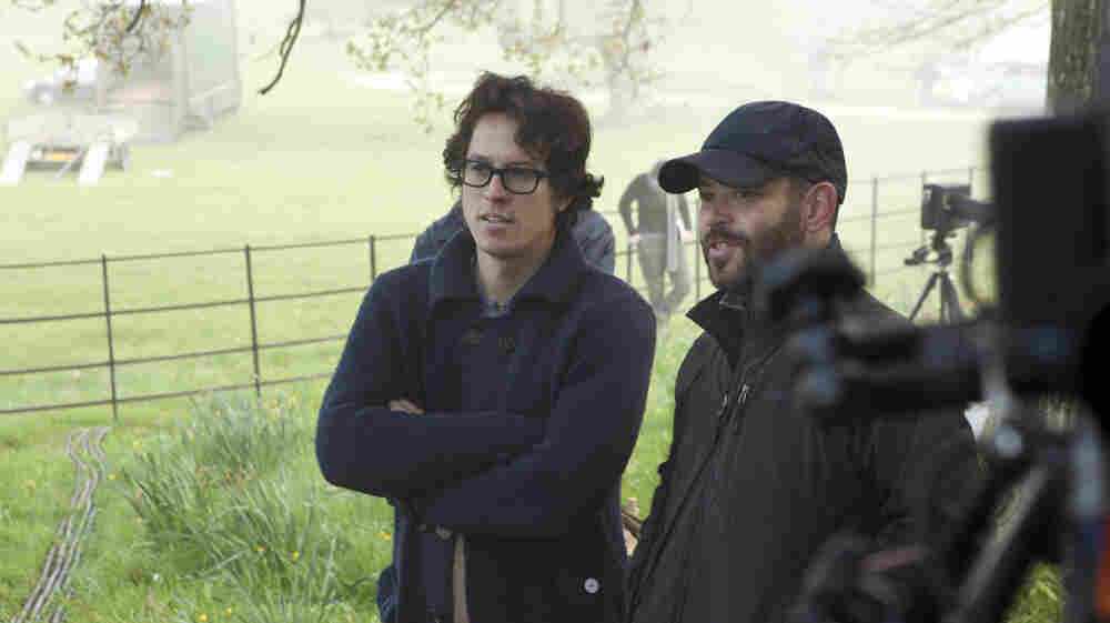 Cary Fukunaga (left) and cinematographer Adriano Goldman on the set of Jane Eyre. The director remembers watching the classic 1943 film of the novel with his mom — and says its shocks helped shape his version.