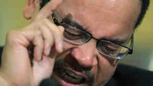 As Rep. Keith Ellison grew more emotional this morning, a tear fell on his glasses.