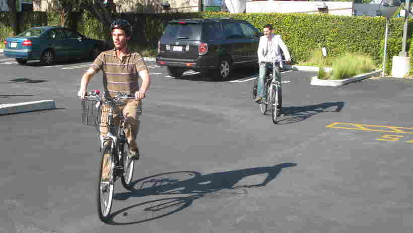 Daniel Kish leads All Things Considered weekend host Guy Raz on a bike ride in Culver City, Los Angeles, Ca.