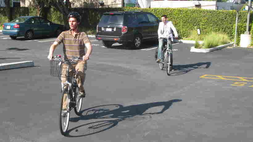 Daniel Kish leads All Things Considered weekend host Guy Raz on a bike ride in Culver City, Los Angeles, Ca.