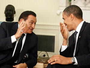 U.S. President Barak Obama talks with then-Egyptian President Hosni Mubarak in the Oval Office at the White House in 2009. Now that Mubarak has been ousted as president, many argue that relations between the two countries walk a delicate line.