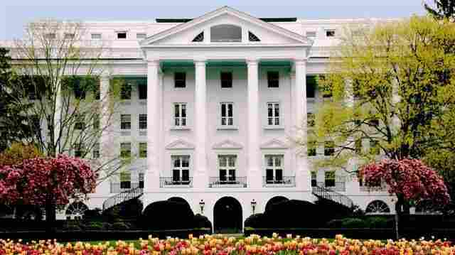 The north entrance to the Greenbrier gives no clues to a secret bunker for Congress.