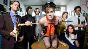 Of Montreal's Kevin Barnes (center) spoke with World Cafe host David Dye.