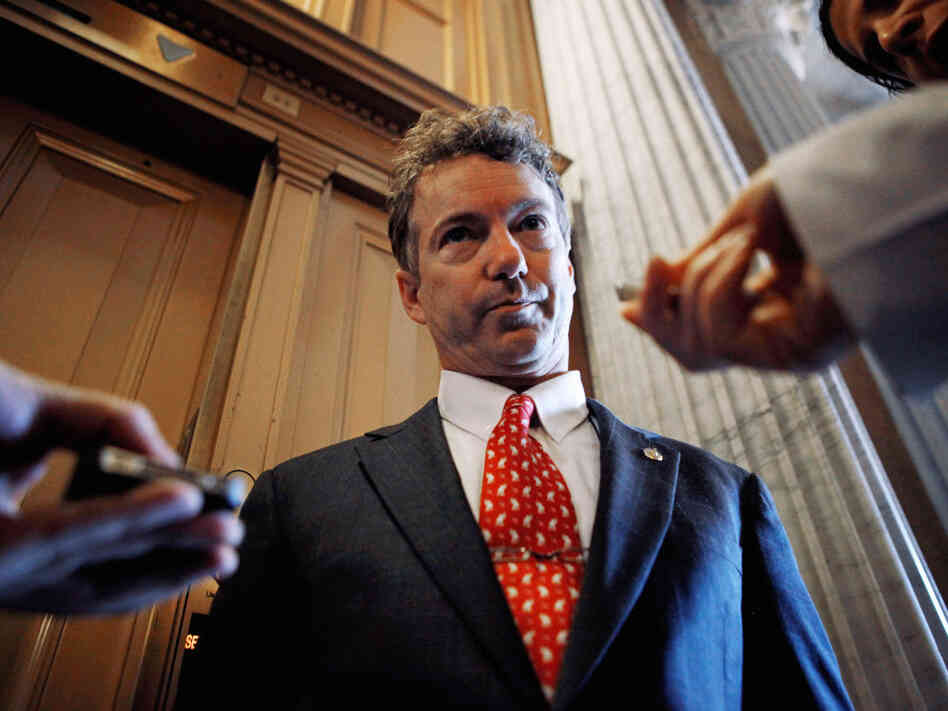 Sen. Rand Paul talks with reporters, March 2, 2011.