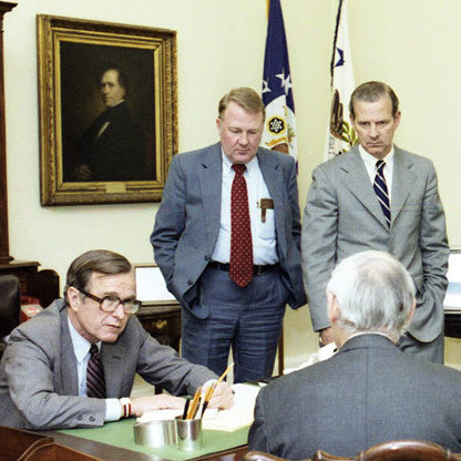 Before issuing a statement to the press shortly after 8 p.m. the day of the shooting, Vice President George H.W. Bush conferred with top Reagan administration advisers.