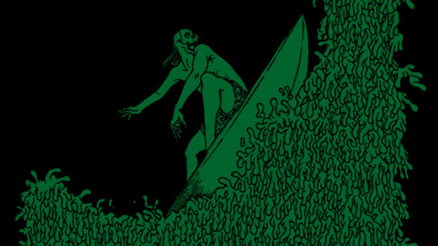 Ridin' the green wave in the digital liner notes to Wadge's Grindcore Lu'au.