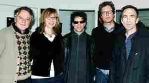 Members of The Jayhawks pose for a picture after their live set on KEXP.