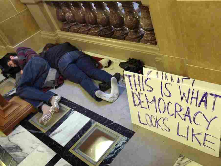 Protestors sleep in the Wisconsin State Capitol on March 10, 2011 in Madison, Wisconsin.