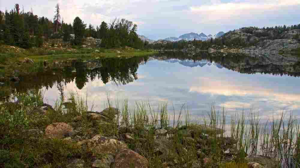 A lake at the the Wind River Range, a mountain range of the Rocky Mountains in  western Wyoming. Portions of the range are also inside the Wind River Indian Reservation.