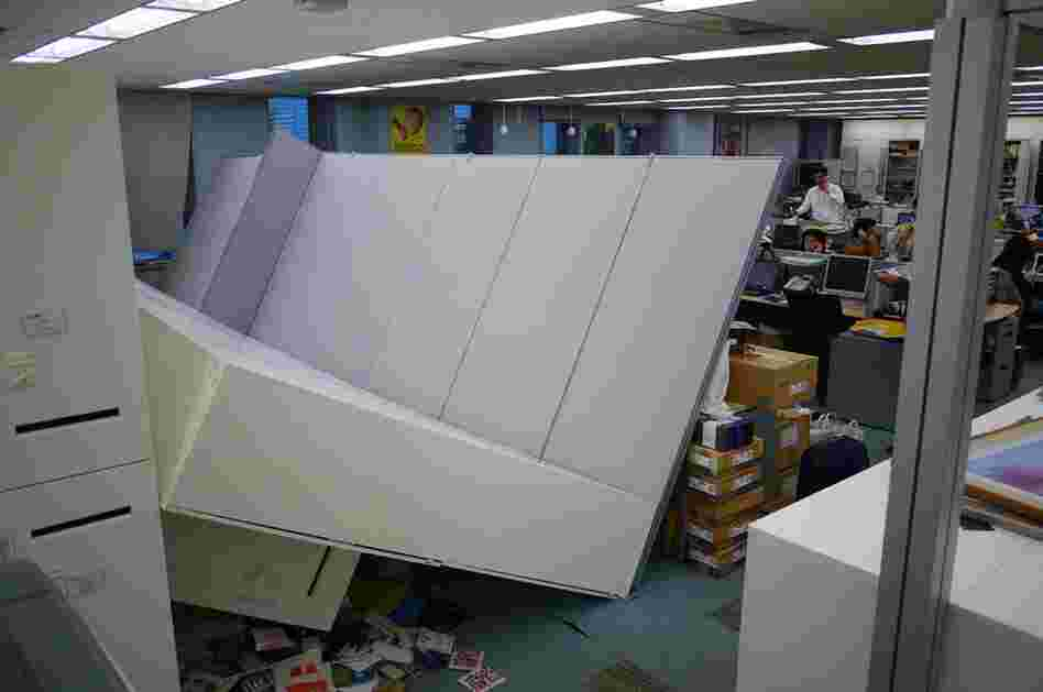 Tremors shook an office building in Tokyo.