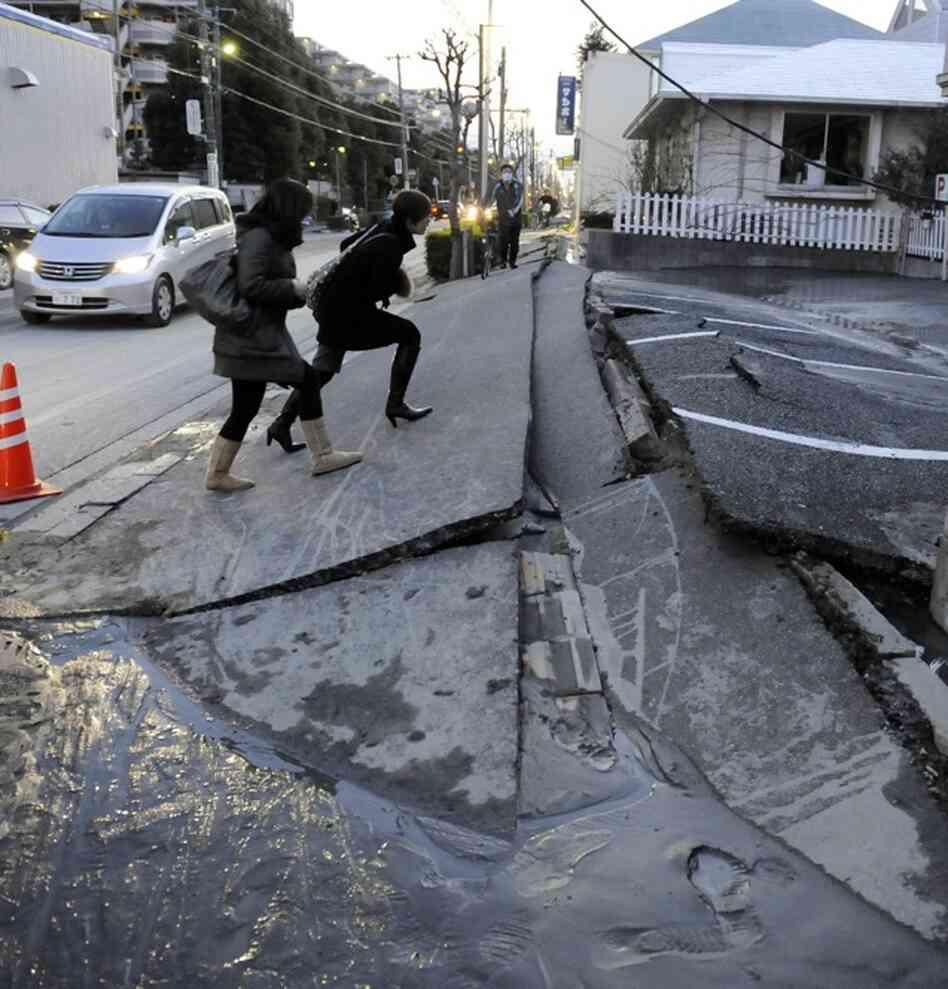 A pedestrian road collapsed in Urayasu city, Chiba prefecture.