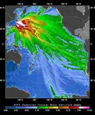 The Pacific Tsunami Warning Center map indicates a 'tsunami forecast model' from Japan's earthquake on Friday, March 11, 2011.