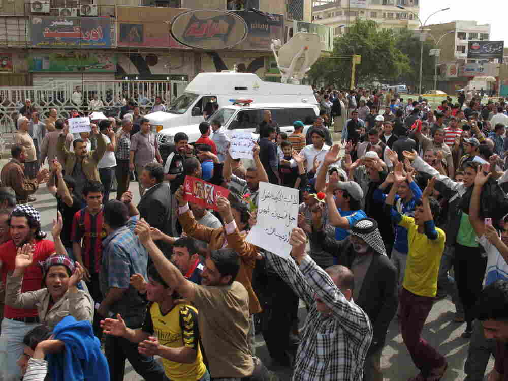 Protesters in Baghdad's Tahrir Square on Friday (March 11, 2011).
