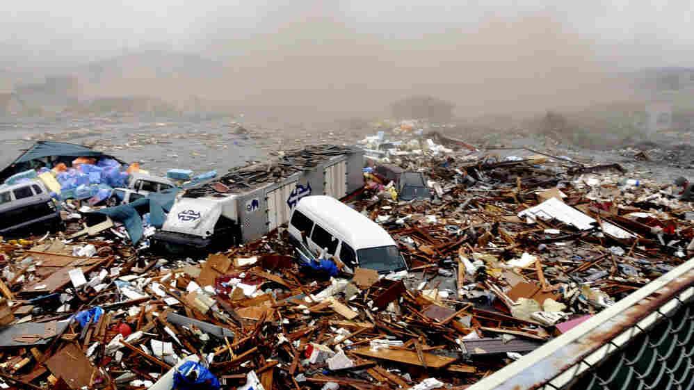 Cars and other debris swept away by tsunami tidal waves, Kesennuma in Miyagi Prefecture, northern Japan.