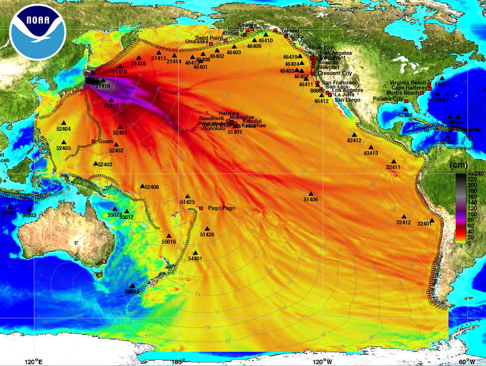 NOAA Chart showing path of Tsunami Wave across Pacific Ocean