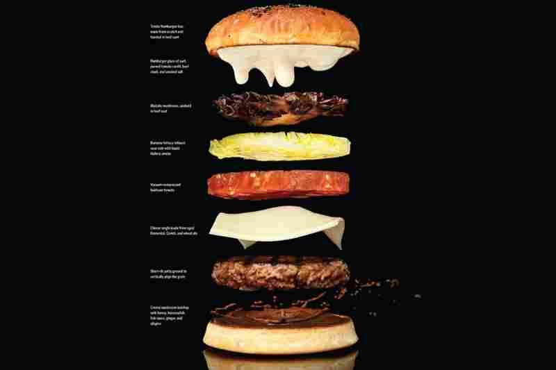 "The book's instructions for the perfect cheeseburger deconstructs its elements — providing directions for grinding the beef and ""smoking"" the lettuce."