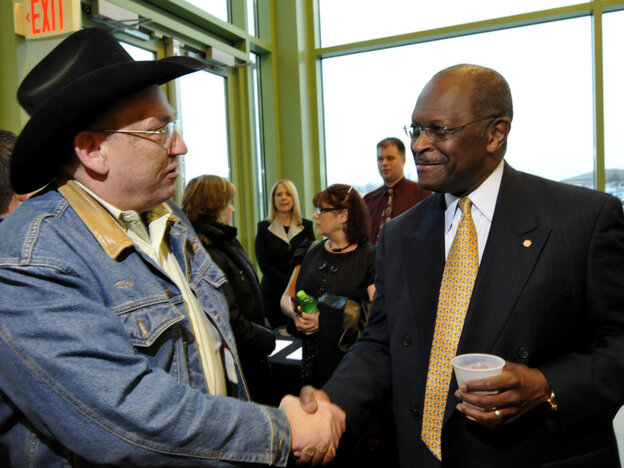 Potential GOP presidential candidate Herman Cain, former Godfather's Pizza head, at the Iowa Faith & Freedom Coalition event, March 7, 2011 in Waukee.