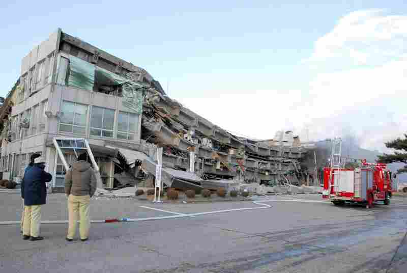 A factory building collapsed in Sukagawa city, Fukushima prefecture, in northern Japan.