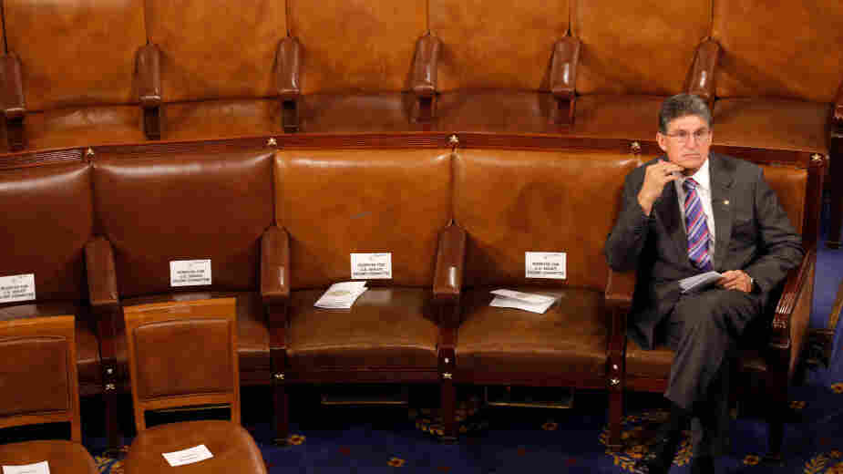 Democratic Sen. Joe Manchin took a swipe last week at the president's leadership on budget talks, rankling fellow members of his party. The senator is shown sitting by himself last week in the House of Representatives as he awaited an address to a joint session of Congress by the Australian prime minister.