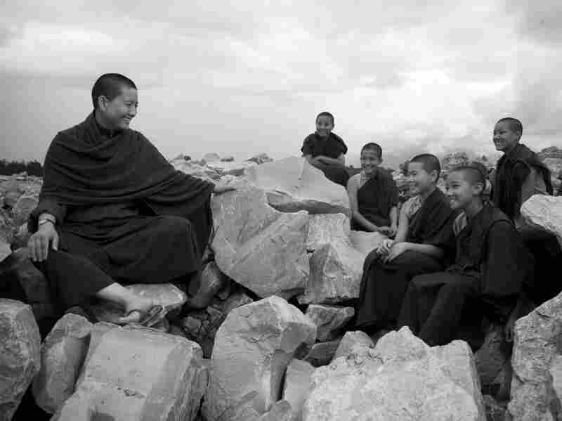 Ani Choying Drolma sits with her students. In 2000, Drolma founded The Arya Tara school — the first school in  Nepal to offer both Western and traditional Tibetan studies to nuns.